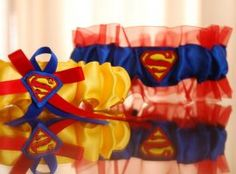 Style 756 - Superman themed garter set, in yellow and blue. Garter Set, Heaven, Wedding Garters, Outdoor Decor, Bright, Home Decor, Sky, Decoration Home, Room Decor