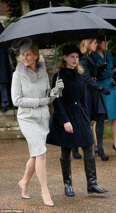 December 25, 2015 ~ Sophie, the  Countess of Wessex with her daughter, Lady Louise...