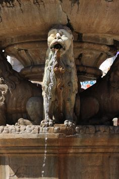 Ancient lion fountain on the square of Heraklion in Crete
