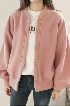 Loose Fit Arm Puff Round Cardigan