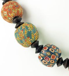 Perfect decoration for a bag Handmade Indonesian Pelangi (also known as Viking) glass trade beads Viking Jewelry, Ancient Jewelry, Beaded Jewelry, Handmade Jewelry, Diy Jewelry, Jewellery, Glass Pendants, Glass Beads, Walmart Jewelry