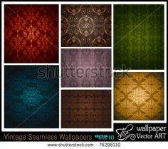 Stilish Set of 7 seamless vintage wallpapers