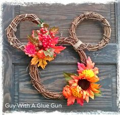 Fall Grapevine Mickey Mouse Wreath