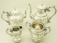 A fine and impressive antique Victorian English sterling silver four piece tea and coffee service / set; part of our silver teaware collection  http://www.acsilver.co.uk/shop/pc/Sterling-Silver-Four-Piece-Tea-and-Coffee-Service-Antique-Victorian-97p3439.htm