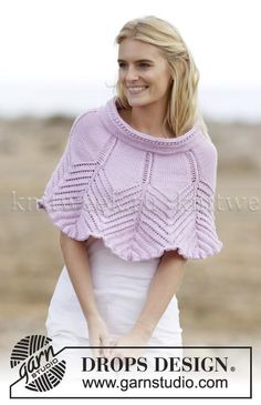 Ponchos & Shawls - Free knitting patterns and crochet patterns by DROPS Design Knitted Cape, Knit Cowl, Knitted Shawls, Crochet Shawl, Knit Crochet, Lace Shawls, Cozy Knit, Crochet Granny, Hand Crochet