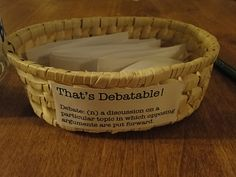 """""""That's Debatable!"""" activity--using current events and other debatable topics to spark family conversation"""