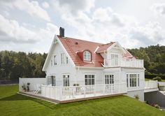 My Norwegian Home ( Scandinavian Home, Nordic Home, Dream Home 2017, Painted Brick Exteriors, Norwegian House, Swedish Cottage, Modern Farmhouse Exterior, Red Roof, Villa