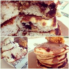 Chocolate Cookie Dough Pancakes  1/4 cup old-fashioned rolled oats, 2 TBSP coconut flour, 3 egg whites, 2 TBSP plain Greek yogurt, 1/2 tsp baking powder, 1/4 tsp vanilla extract, 1/4 tsp butter extract (or more vanilla extract), Stevia, 1/2 chocolate chip cookie dough quest bar