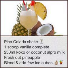 Pina colada Cut Pineapple, Pina Colada, Vanilla, Coconut, Milk, Fruit, Food, Meals