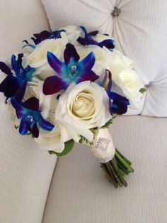 Turquoise Bouquet - Orchids and Roses - Think the white roses are to large (replace with smaller white flowers)