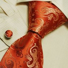 Orange pattern silk ties