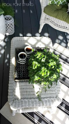 Scatter rugs from @homegoods , set on an angle, can relax an outdoor space (plus still reveal your newly painted deck!) sponsored pin