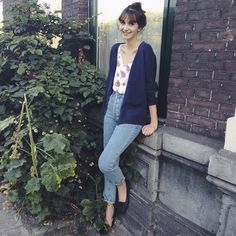 High-Waist Jeans with a Floral Chiffon Camisole and Unisex Cotton Cardigan