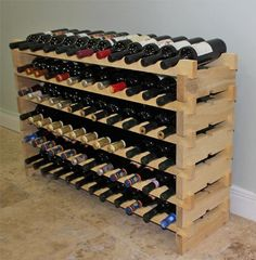 Stackable Wine Rack-72 Bottles Modular Wooden Wine Racks, Very Easy to Put Together,WN72 DisplayGifts