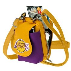 Los Angeles Lakers Game Day Purse by Charm 14. $14.49. Why take out a bulky handbag with you when you can fit everything you need in this compact Los Angeles Lakers Game Day Purse! This cell phone purse comes with a short strap and long adjustable shoulder strap that allows you to wear this across the body. You'll be amazed at all that this little handbag can hold. The front flap lifts up and is a perfect place for your cell phone or MP3 player. Keeps your cell phone close so ...