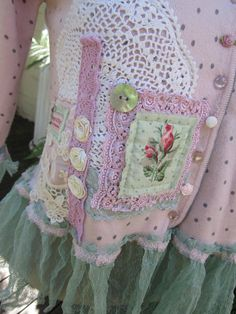 Vintage Kitty.. mint green and pink..oohlala.. vintage crochet, pearls, roses, lace.. pretty shabby chic.. med/LARGE.