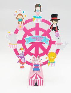 Kit Decoração Circo Rosa no Elo7 | Ateliê Art in Festas (913FF6) Circus Birthday, Circus Theme, Circus Party, Birthday Parties, Candy Colors, Diy And Crafts, Carnival, Scrap, Clip Art
