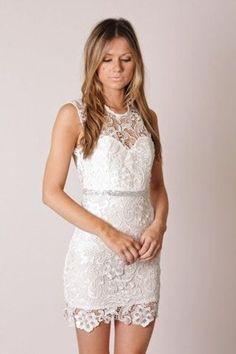Lace rehersal dinner dress.