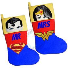 Superman, Wonderwoman, His and Hers, Mr and Mrs, Christmas Stocking, Superhero Character, Justice League, Comic superhero, Christmas