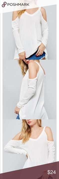 Loner Thermal Semi-fitted, open shoulder thermal knit top. Has round hem.   Runs true to size.  Material: 49% Polyester/ 49% Rayon/ 2% Spandex Tops