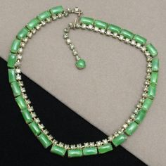 Choker Necklace with Green Glass and Rhinestone Vintage #Unbranded