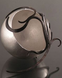 awesome metal sculpture, sterling silver, bronze, hand hammered