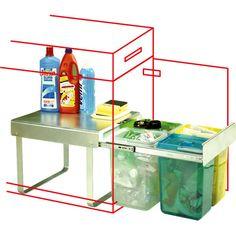 Inbouw oplossing om afval te scheiden. kan los in keukenkast geplaatst worden.