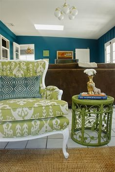 chair makeover plus green and teal ;)