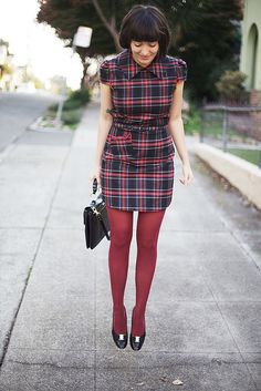More plaid styled by calivintage. Rachel Antonoff kitty pocket dress from modcloth. Frock Fashion, Plaid Fashion, Vintage Fashion, Ladies Fashion, Vintage Style, Womens Fashion, Colored Tights, Opaque Tights, Nylons