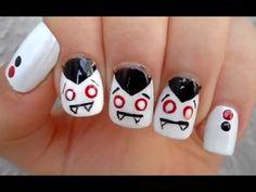 Dracula Nails || Halloween Nail Art - YouTube