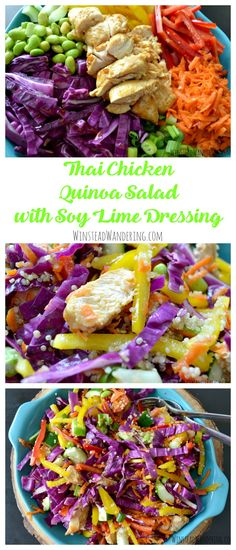Thai Chicken Quinoa Salad with Soy Lime Dressing is full of flavor and packed with fresh veggies. It's the perfect healthy lunch recipe!
