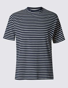 Regular Fit Pure Cotton Striped Stay Soft T-Shirt with StayNEW™ | M&S