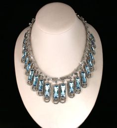 The aquamarine and diamond kokoshnik necklace is part of a set with a matching tiara, earrings and brooch.    The necklace was made in 1900 and was the personal property of Tsarina Alexandra. The present whereabouts of this splendid jewel is unknown