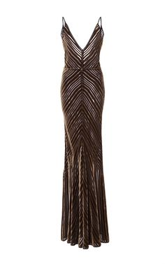 This **Gabriela Hearst** Julian gown features geometric sheer and velvet stripes and a deep-V neckline.