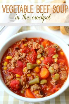 Crockpot vegetable beef soup recipe that is AMAZING and so easy to make!! You've gotta' try this one.