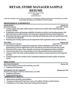 Retail manager, Resume and Retail on Pinterest Retail manager resume is made for those professional employments who are seeking for a job position
