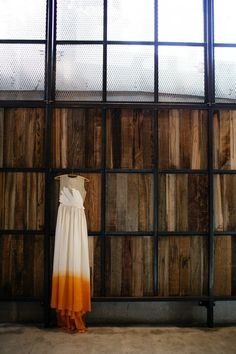 orange cream dip-dyed dress