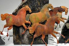 Awesome Horses In The Arts Horse Sculpture, Animal Sculptures, Aluminum Foil Art, Unicorns, Painted Pony, Clay Animals, Equine Art, Horse Art, Animal Paintings