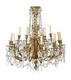 A FRENCH ORMOLU, CUT AND PRESSED GLASS EIGHTEEN-LIGHT CHANDELIER LATE 19TH/EARLY 20TH CENTURY