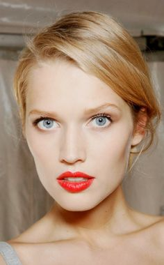For the Love of Grace | Toni Garrn. Light blue eyes and fire engine red lipstick