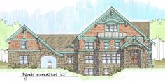 """The """"other"""" elevation sketch for a new custom home……….Learn more about how better design makes your home a more fulfilling place to live on our blog at www.rtastudio.blogspot.com"""