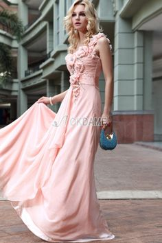 Chiffon Perlenbesetztes Sweep Zug informelles romantisches Abiballkleid/ Süß 14 Geburtstag Kleid