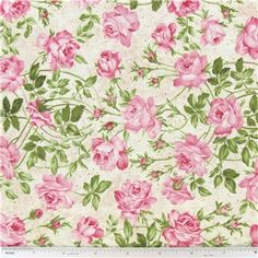 Rose Garden Tea Time for Two Pink Roses Fabric | Shop Hobby Lobby