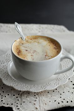 Homemade Pumpkin Spice Latte (the real deal) - Live Simply. make the pumpkin part and add to tea instead of coffee