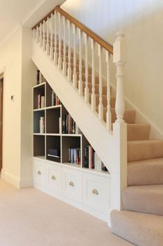 55 Genius Under Stairs Storage Ideas For Minimalist Home. Many of us live in houses that have an open area underneath the stairs. This often gets used for shoes or bags . Under Stairs Nook, Under Stairs Cupboard, Stairs In Living Room, House Stairs, Loft Stairs, Basement Stairs, Stairway Storage, Storage Stairs, Storage Under Staircase
