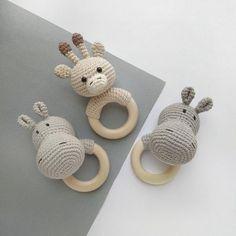 Panda Giraffe Hippo rattle Safari animals Crochet Baby gift Newborn toy baby shower gift Organic eco animal decor Baby teething toy