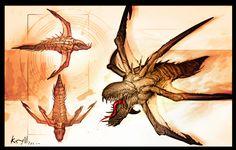 Art by Hawkprey Gears Of War, Alien Creatures, Fantasy Creatures, Alien Concept, Concept Art, James Hawkins, Character Art, Character Design, Fantasy Dragon