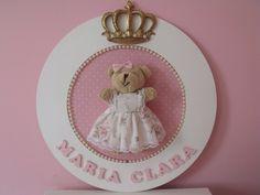 Quadro Porta Maternidade Bebê Ursinha Ursinho Com Nome !! - R$ 79,90 no MercadoLivre