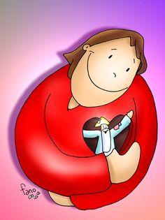 My Jesus and my God! Jesus Cartoon, Bible Crafts For Kids, Bible Stories, God Jesus, Gods Love, Hello Kitty, Faith, Humor, Illustration