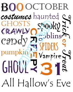 INSTANT DOWNLOAD Halloween Word Art - ZoBee Prints & Decor